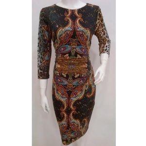 Joseph Ribkoff Multi Print Sequin Dress 32689